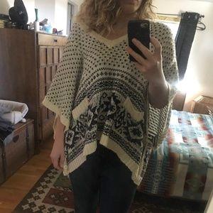 Oversized Vintage Wool Poncho